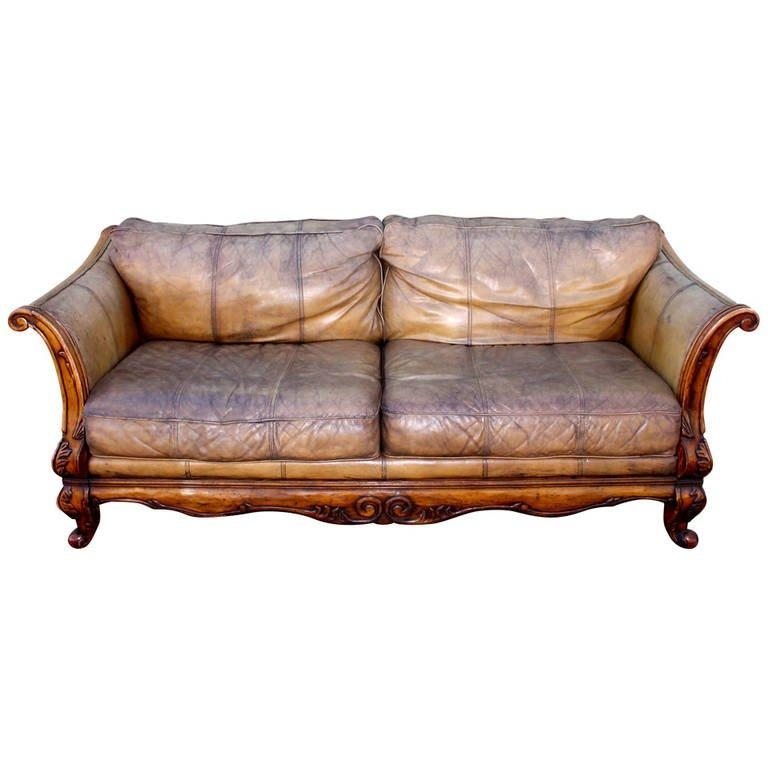 Monumental Distressed Leather And Carved Wood Sofa At 1Stdibs Throughout Carved Wood Sofas (Image 10 of 20)