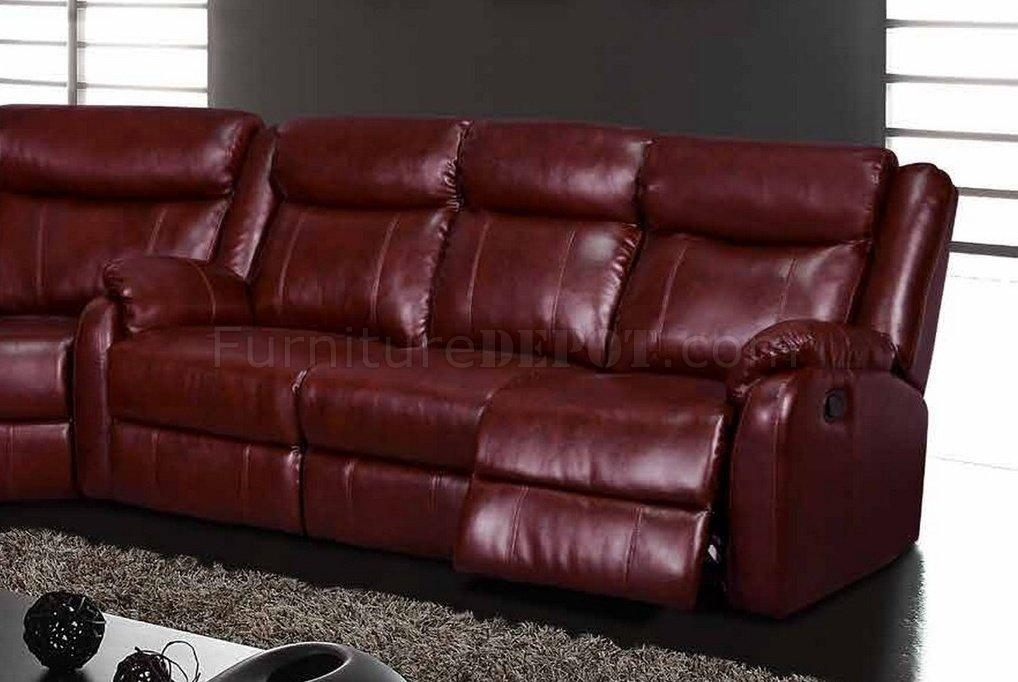 Motion Sectional Sofa In Burgundyglobal Within Burgundy Sectional Sofas (View 12 of 20)