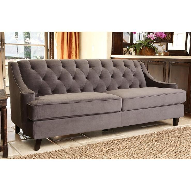 Moulin Grey Velvet Button Tufted Sofa Pertaining To Brown Tufted Sofas (View 16 of 20)