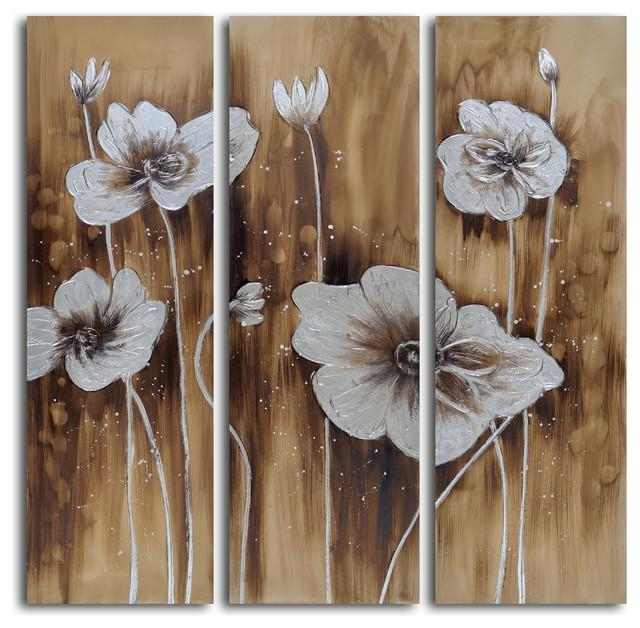 "Muddied Floral March"" Hand Painted Canvas 3 Piece Set Inside 3 Piece Floral Canvas Wall Art (Image 14 of 20)"