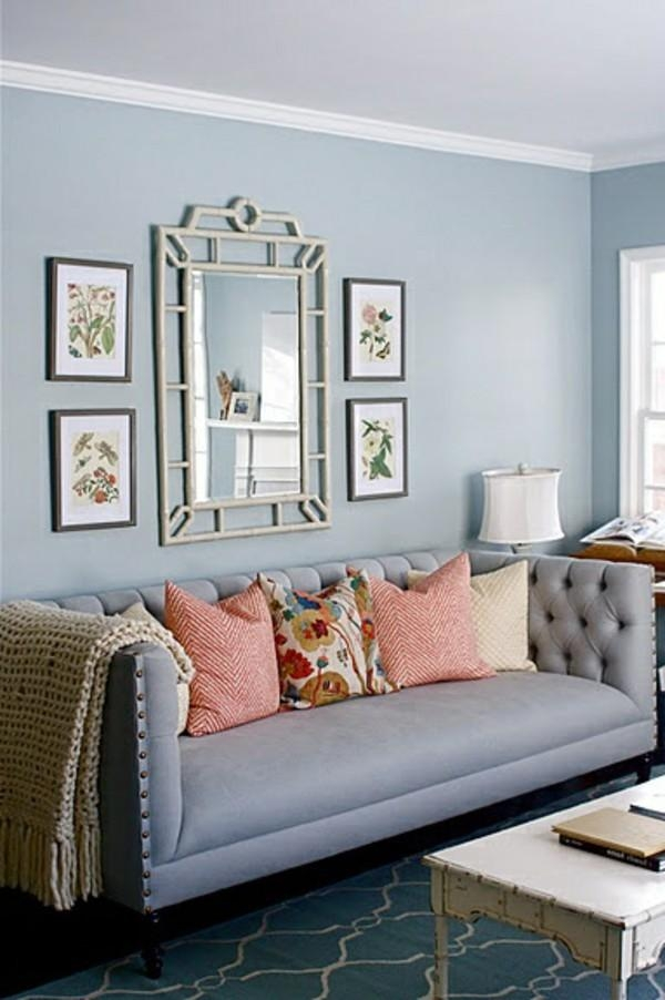 Murals Behind The Sofa Right Hanging | Hum Ideas For Blue Grey Sofas (Image 18 of 20)