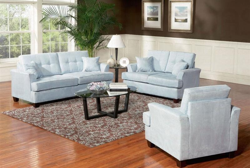 Murray 2 Piece Sofa Set In Sky Blue Fabriccoaster – 502131S Throughout Sky Blue Sofas (View 2 of 20)