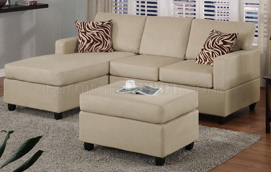 Mushroom Plush Microfiber Modern Small Sectional Sofa W/ottoman Intended For Modern Small Sectional Sofas (View 18 of 20)