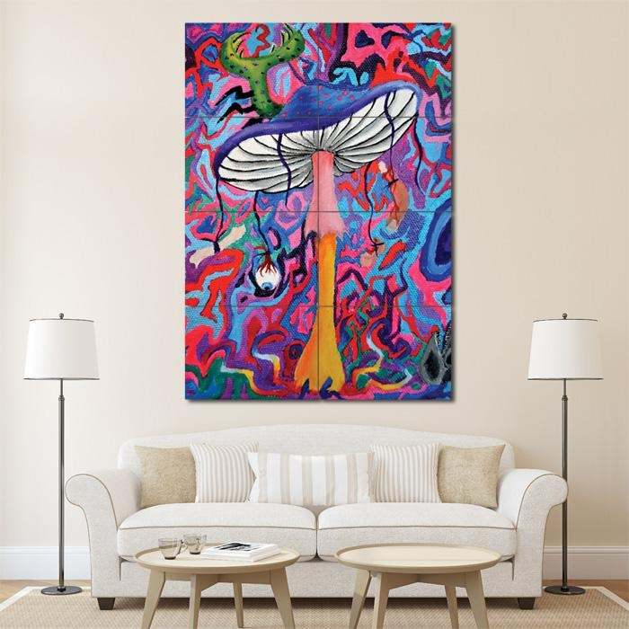 Mushroom Trippy Block Giant Wall Art Poster Pertaining To Mushroom Wall Art (View 5 of 20)