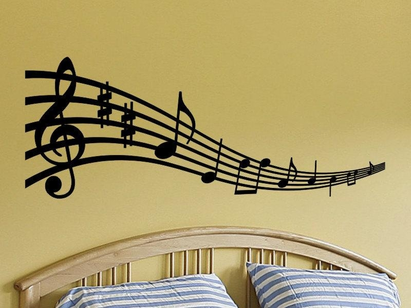 Music Notes Wall Art Musical Notes Wall Decal Music Note Wall Pertaining To Music Note Wall Art Decor (View 4 of 20)