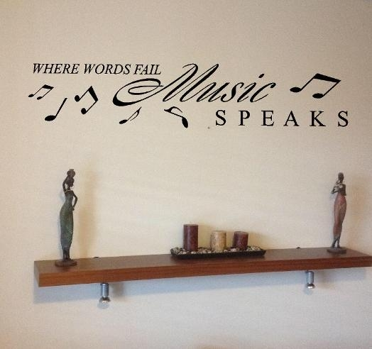 Music Speaks Slogan And Music Notes – Home Wall Art Sticker Vinyl Regarding Music Note Wall Art (View 7 of 20)