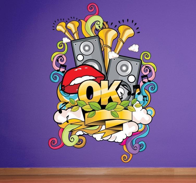 Musical Graffiti Wall Sticker – Tenstickers Intended For Graffiti Wall Art Stickers (View 19 of 20)