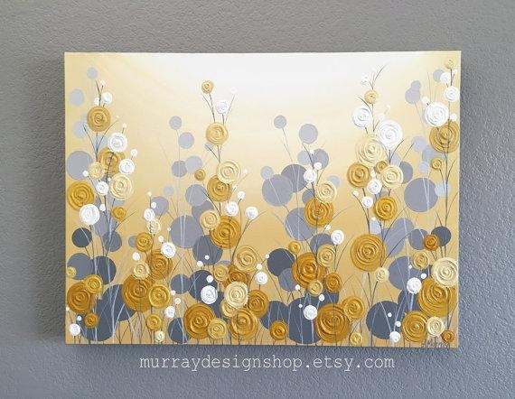 Mustard Yellow And Grey Wall Art Textured Painting Abstract With Regard To Yellow And Blue Wall Art (Image 15 of 20)