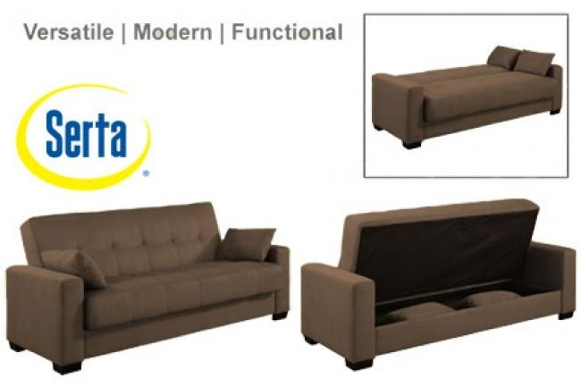 Napa Contemporary Sleeper Futon Bed | Brown Sleeper Sofa | The For Convertible Futon Sofa Beds (Photo 12 of 20)