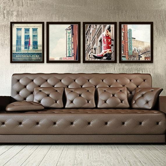 Nashville Wall Art Industrial Decor City Photography Set Of 4 Intended For Vintage Industrial Wall Art (Image 8 of 20)