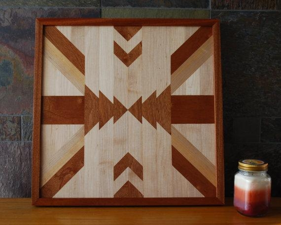 Native American Geometric Design Wood Wall Art Navajo Tribal Within Native American Wall Art (Image 13 of 20)