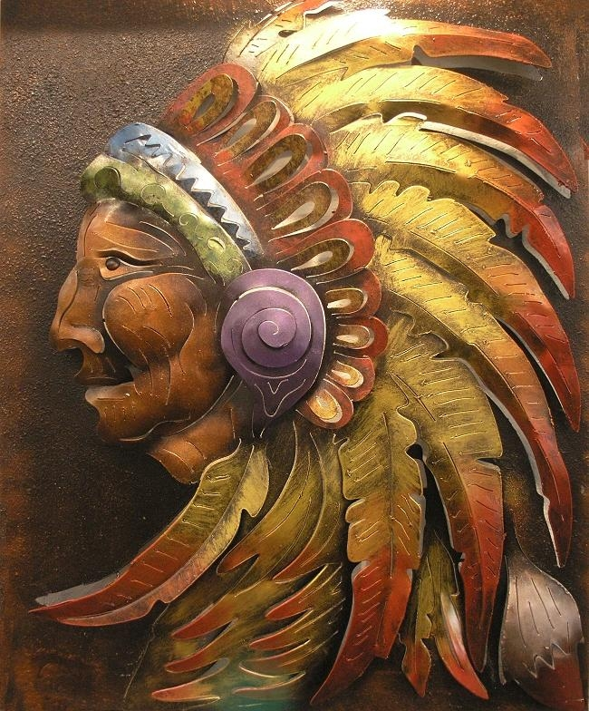 Native American Indian Metal Wall Art Throughout Native American Wall Art (Image 14 of 20)
