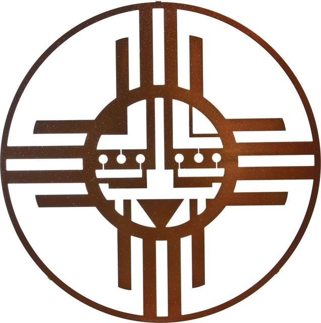 Native American Sun Circle Metal Wall Art In Sparkle Copper Finish Pertaining To Native American Wall Art (Image 17 of 20)