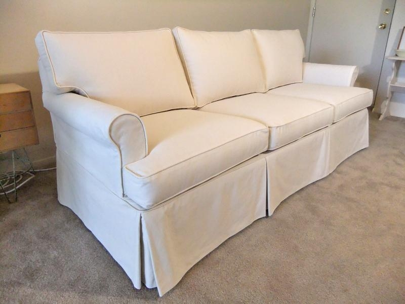 Natural Canvas Slipcover For Ethan Allen Sofa | The Slipcover Maker For T Cushion Slipcovers For Large Sofas (View 8 of 20)