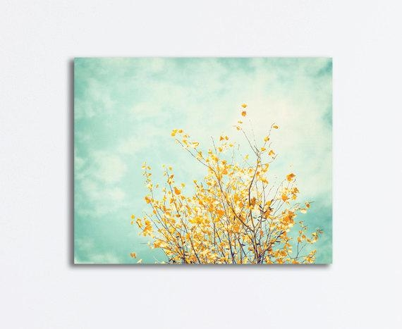 Nature Canvas Art Mint Green Yellow Turquoise Light Blue With Regard To Yellow And Green Wall Art (Image 18 of 20)