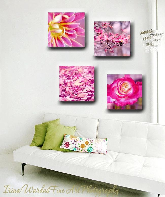 Nature Flower Photograph Set On Canvas | Rose | Daisy | Leaves Intended For Girls Canvas Wall Art (View 17 of 20)