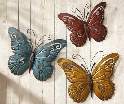 Nature Inspired Metal Butterfly Wall Art Trio From Collections Etc (View 2 of 20)