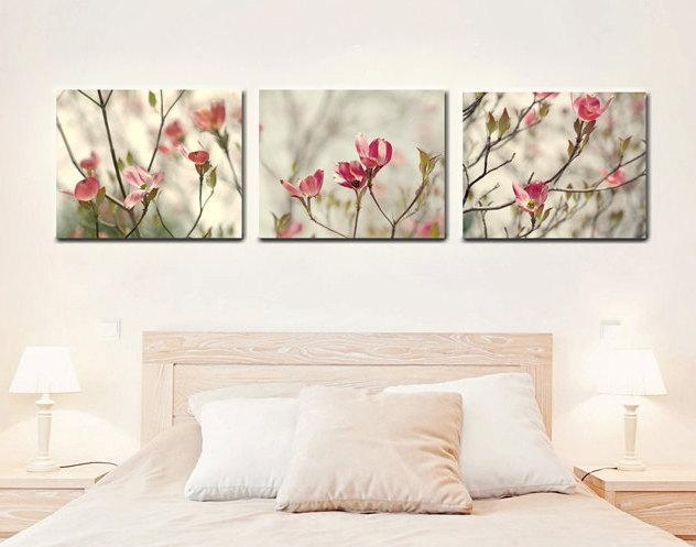 Nature Photography On Canvas Wall Art Set | Dogwood Tree Flowers Inside Pink Flower Wall Art (View 6 of 20)