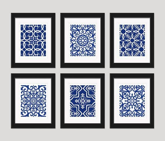 Navy Blue Art Blue White Wall Art Home Decor Setinkandnectar Intended For Navy Blue Wall Art (View 3 of 20)