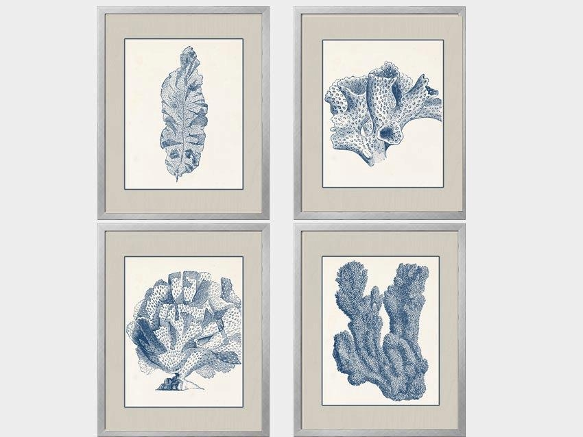 Navy Blue Coral Set Of Four 8X10 Blue Tan Cream Coral Art Intended For Blue And Cream Wall Art (Image 19 of 20)