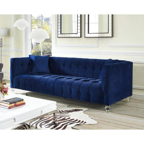 Navy Blue Velvet Tufted Bottom Sofa Regarding Blue Velvet Tufted Sofas (View 20 of 20)