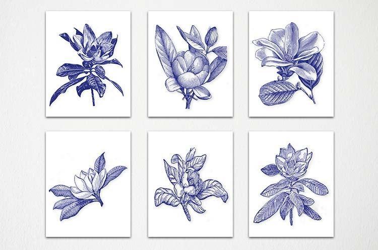 Navy Blue White Wall Art Navy White Botanical Botanical Intended For Blue And White Wall Art (Image 18 of 20)