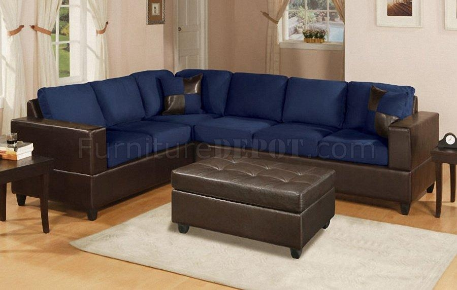 Navy Microfiber Contemporary Sectional Sofa W/faux Leather Base In Blue Leather Sectional Sofas (Image 16 of 20)