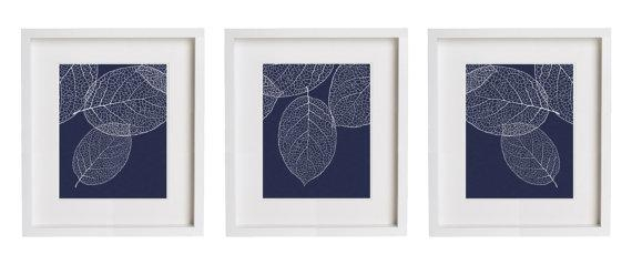 Navy Wall Art West Elm Leaf Print Set Of 3 Botanical Prints Pertaining To Dark Blue Wall Art (Image 19 of 20)