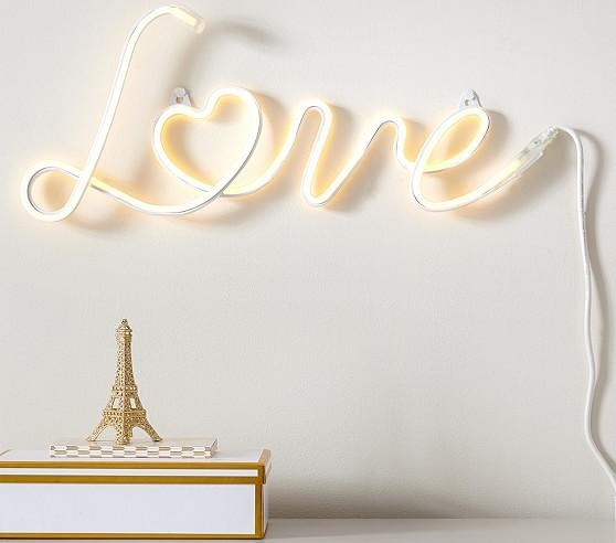 Neon Love Wall Art | Pottery Barn Kids Intended For Love Wall Art (Photo 3 of 20)