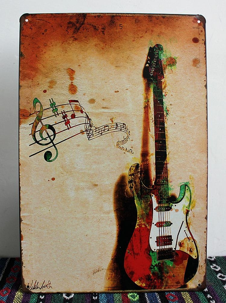 New 2015 Vintage Tin Sign Retro Metal Painting Guitar Picture For Guitar Metal Wall Art (Image 13 of 20)