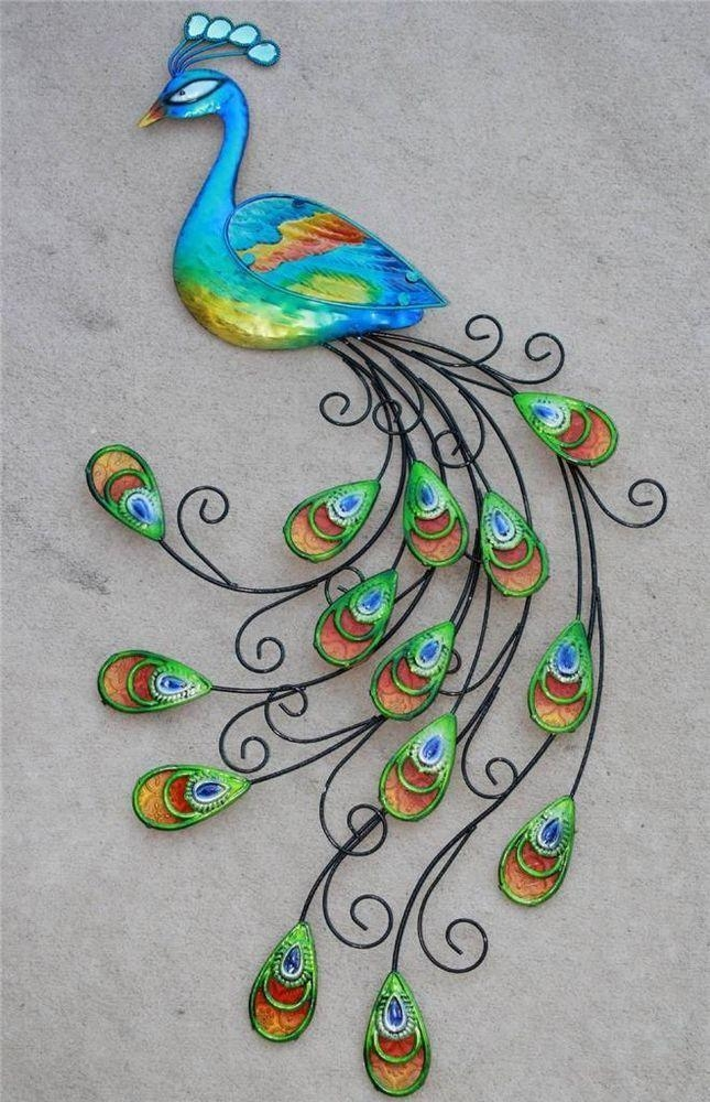New 3D Large Metal Peacock Sculpture Wall Hanging Art Blue Peacock For Metal Peacock Wall Art (View 19 of 20)