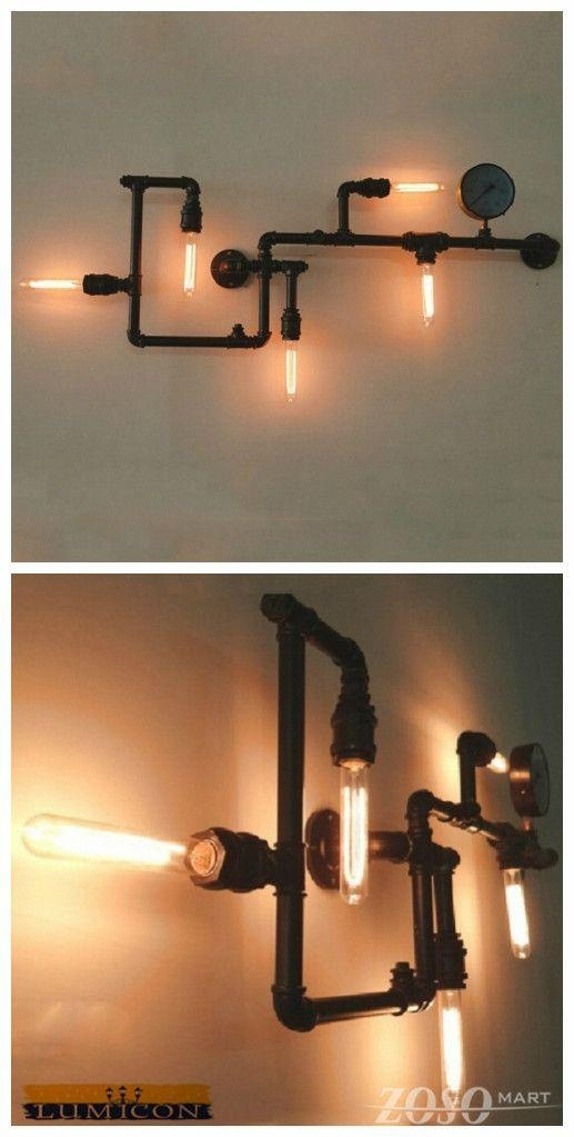 New Arrival–Industrial Steam Punk Pipe Wall Lights This Fixture Intended For Wall Art With Lights (Image 14 of 20)