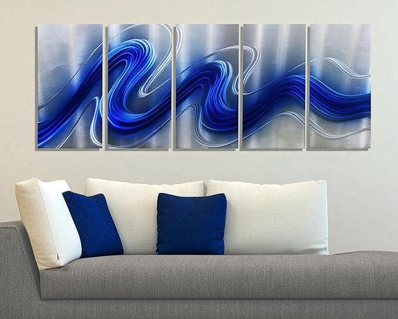 New Blue & Silver Modern Metal Wall Sculpture Abstract Throughout Large Contemporary Wall Art (View 6 of 20)