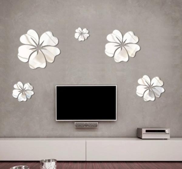New Fashion Flower Mirror Wall Art Mural Decal Sticker Diy Home Pertaining To Diy Mirror Wall Art (Image 17 of 20)