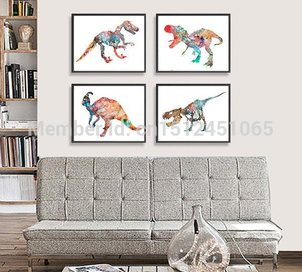 New Modern Abstract Dinosaur Watercolor Painting Print On Canvas Pertaining To Dinosaur Wall Art For Kids (View 14 of 20)