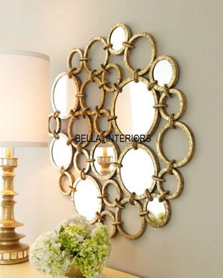 New Neiman Marcus Metal Gold Mirror Ring Circles Wall Art Modern Throughout Mirror Circles Wall Art (Image 12 of 20)