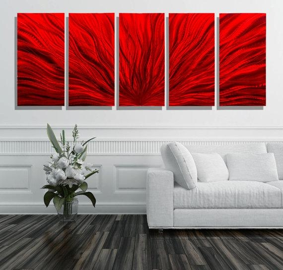New Oversized Red Modern Metal Wall Art Multi Panel Wall Art With Oversized Metal Wall Art (Image 11 of 20)