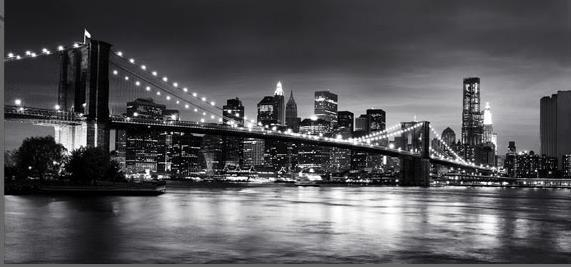 New York Brooklyn Bridge Panoramic Black & White Canvas Wall Art Inside New York City Canvas Wall Art (View 15 of 20)