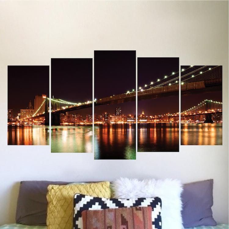 New York Brooklyn Bridge Wall Decal Vinyl Mural – View Wall Decal With Brooklyn Bridge Wall Decals (Image 13 of 20)