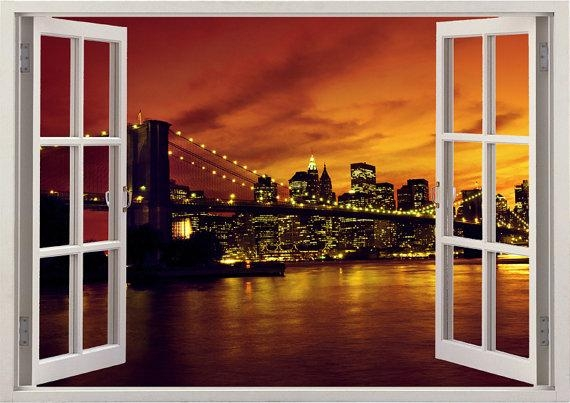 New York Brooklyn Bridge Wall Sticker 3D Window Manhattan With Regard To Brooklyn Bridge Wall Decals (Image 14 of 20)