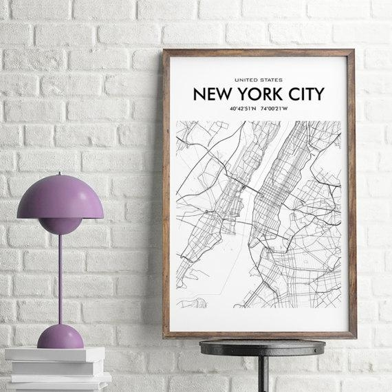 New York City Map New York City Wall Art Print New York Pertaining To Map Wall Art (Image 14 of 20)