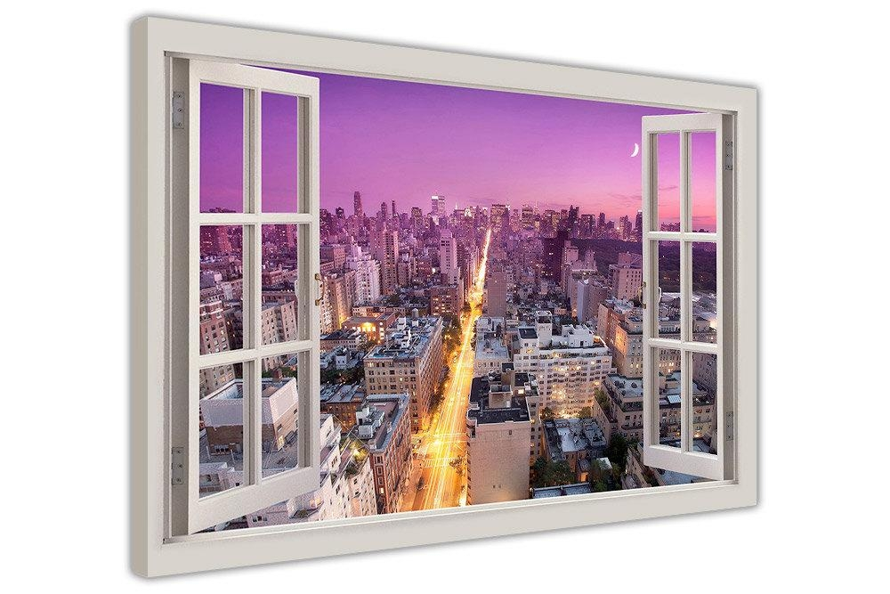 New York City Purple Sky 3D Window Frame Effect Canvas Art Inside New York City Canvas Wall Art (View 11 of 20)