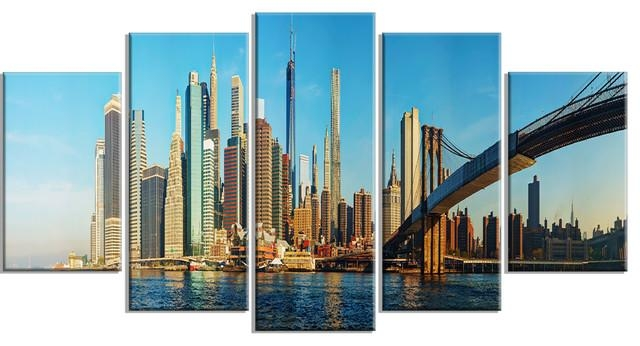 "New York City With Brooklyn Bridge"" Metal Wall Art – Industrial For Brooklyn Bridge Metal Wall Art (Image 9 of 20)"