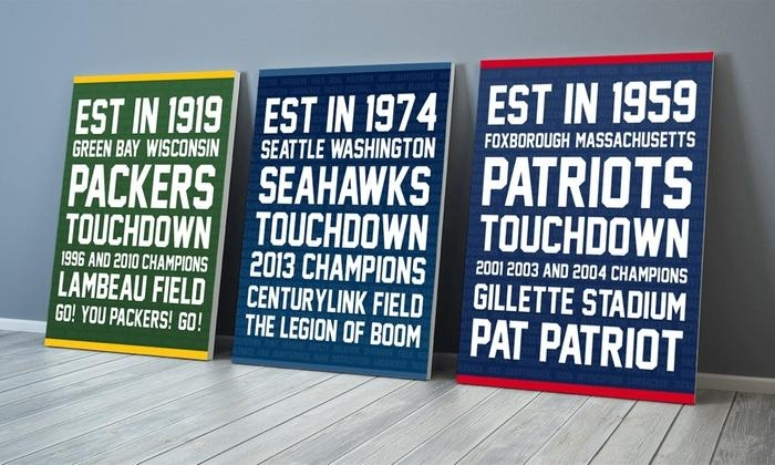 Nfl Typography Canvas Wall Art | Groupon Goods Regarding Groupon Wall Art (Image 16 of 20)