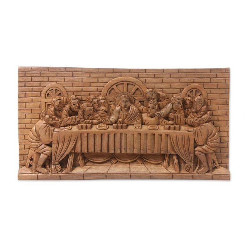 Novica Balinese Last Supper Christian Art Wood Sculpture Relief Throughout Last Supper Wall Art (Image 12 of 20)
