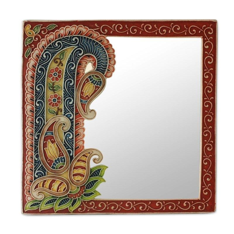 Novica Blossoming Reflections Hand Crafted Marble Dust Art On Wall Throughout Mirrored Frame Wall Art (Image 12 of 20)