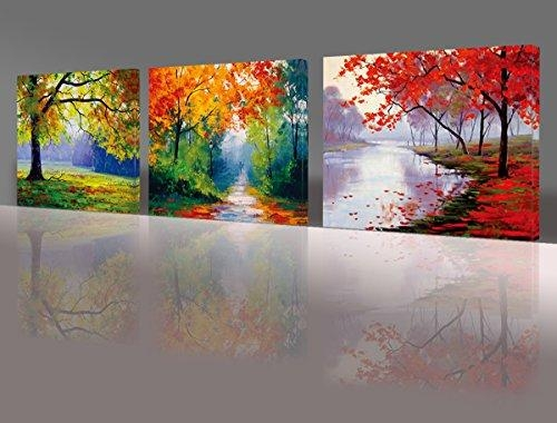 Nuolan Art  Canvas Prints, 3 Panel Wall Art Oil Paintings Printed In Three Panel Wall Art (Image 11 of 20)