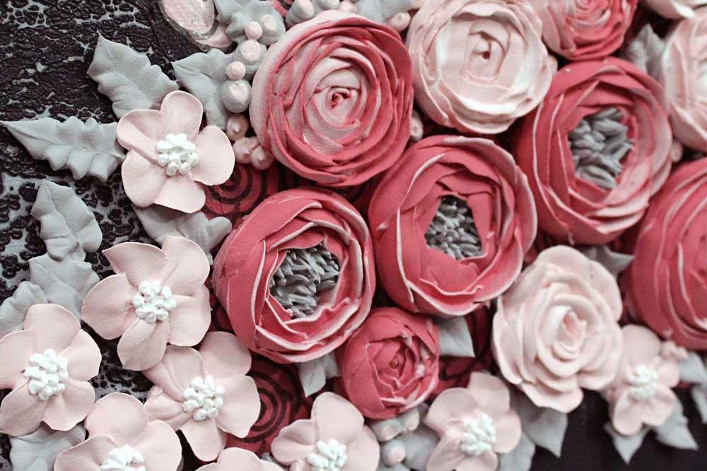 Nursery Wall Art Of Sculpted Floral Rose Bouquet In Gray And Pink Inside Pink Flower Wall Art (View 9 of 20)