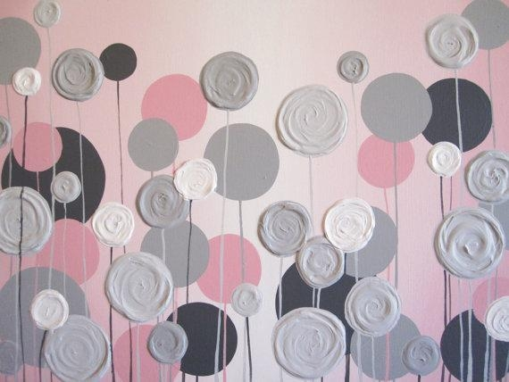 Nursery Wall Art Pink With Grey Textured Flowers Acrylic Within Pink And Grey Wall Art (View 3 of 20)