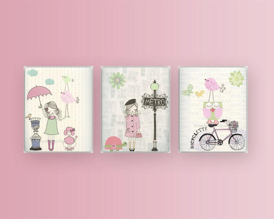 Nursery Wall Art Print Baby Room Decor Baby Girl Paris Inside Wall Art For Girls (Image 14 of 20)